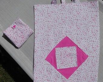 Pink floral folding shopping bag