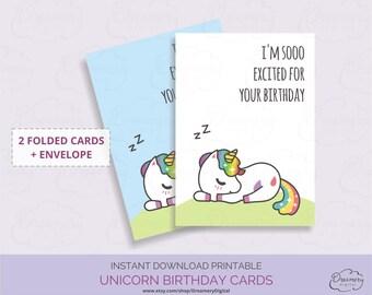 Printable funny birthday card , Funny unicorn birthday card digital download