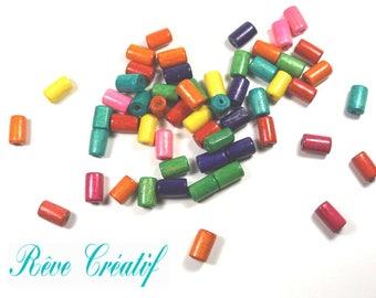 50 Perles en Bois Tubes 10mm x 6mm Multicolores
