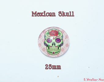 Glass cabochon illustrated ø25mm Mexican skull