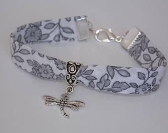 Liberty Dragonfly bracelet, white & gray