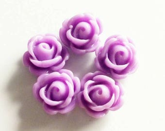 """Set of 5 small roses """"Purple"""" 10mm"""