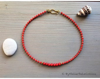 Coral necklace with tibetan beads, Mutia collection