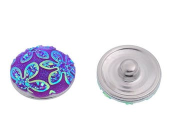 snap button chunk 18mm purple colored embossed flowers