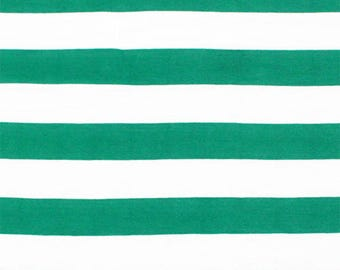 Kelly Green and White Stripe Cotton Jersey Blend Knit Fabric **UK Seller**
