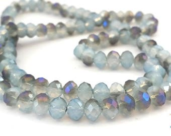Grey/blue/green/purple: 50 glass beads with faceted, abacus shape abacus 4x6mm (pv510)