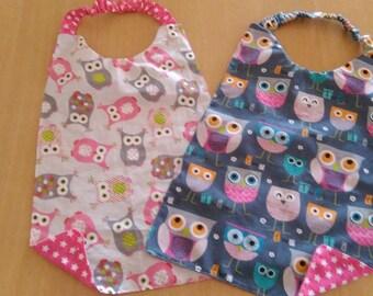 Set of 2 elastic patterns owls kids napkins