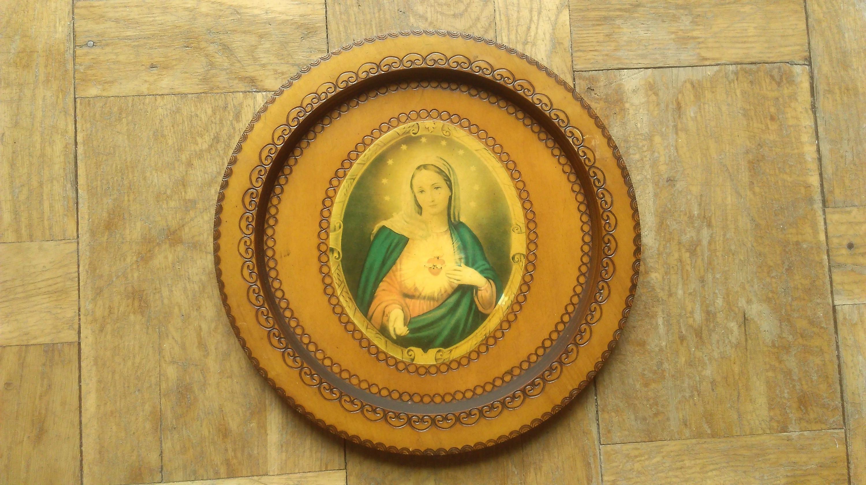 Vintage Icon Of Mary Print On Wood 70s Raligious Wall Art Catholic ...