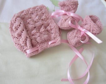 """Set hat and booties newborn """"old rose"""""""