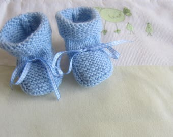 Gingham Ribbon and blue baby booties