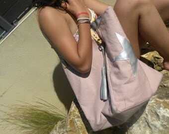 Pink Tote with stars and silver tassels