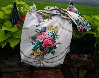 Vintage fabric tote bag