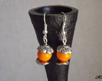 """New - earrings Collection"" boho Chic ""- artisan jewelry - Orange Czech glass beads, metal..."