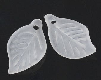 1 lot of 20 white frosted acrylic leaves 18 x 11 mm