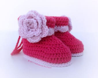 Chaussons roses en laine peignée