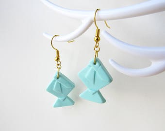 Origami fish Mint polymer clay earrings