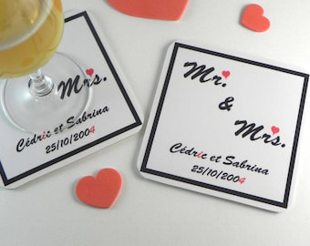 """Personalized coasters / wedding Valentine place label """"Mr & Mrs"""" table decoration"""