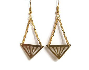 Earrings dangle triangles gold plated