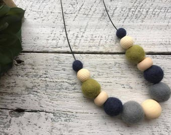 Felt Wool Ball Bead Necklace - Olive/Navy Blue/Charcoal