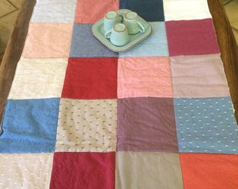 Patchwork of multicolored squares table top table runner