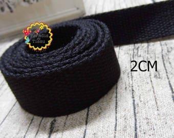 1 meter of strap stripes 2cm black cotton bag