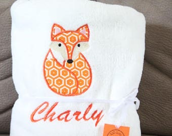 Blanket fleece baby Fox and name