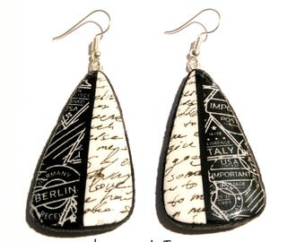 """Earrings """"adventure"""" in black and white polymer clay (fimo, premo, cernit)"""