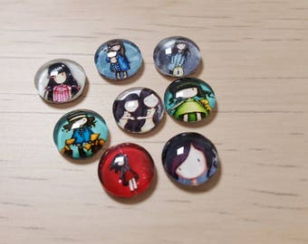 8 girl 12mm glass cabochons