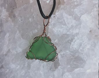 wrapped sea glass necklace