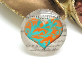 1 cabochon 25 mm glass heart Vintage blue green and Orange - 25 mm