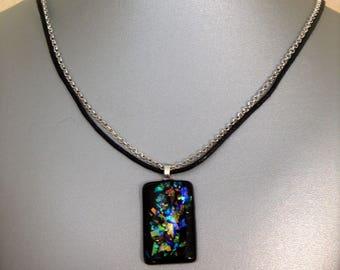 Black resin and dichro-ish rectangular pendant