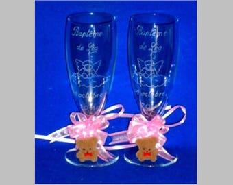 Set of 2 flutes engraved and customized with deco Teddy Communion