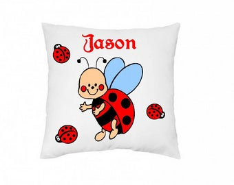 Custom pillow cover, drawing and text, Indian, champion, ladybug, Cosmos, dinosaur, Elephant, farm, frog