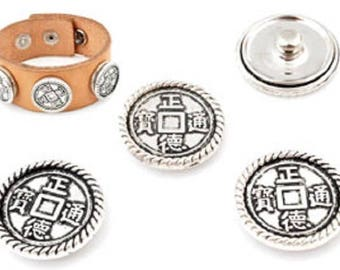 Metal snaps, decorated with Chinese lucky ± 20mm coin