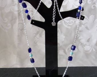 Necklace with silver metal chain and blue beads degraded 81.5 cm