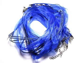 100pc - necklaces neck 47cm cotton and 10mm Royal Blue Organza fabric