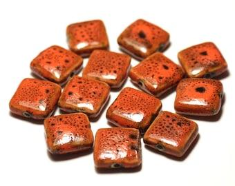 5pc - ceramic porcelain beads 16-18mm Orange mottled - 8741140017108 squares
