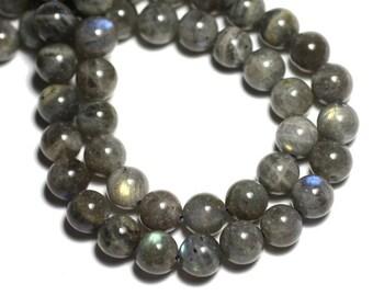 2PC - stone beads - Labradorite balls 10mm - 8741140008717