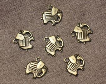 10pc - Metal Bronze 19mm 4558550021212 Elephant charms