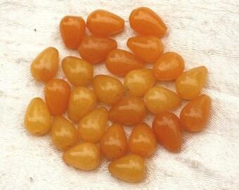 4pc - stone beads - Jade drops yellow mustard 4558550020505 14x10mm