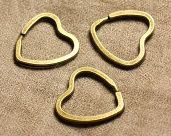 4pc - 32mm 4558550006752 hearts quality Bronze Metal key rings