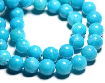 4pc - beads - Jade 14mm Turquoise Blue Balls - 4558550093165
