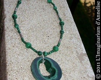Irime malachite necklace on silver