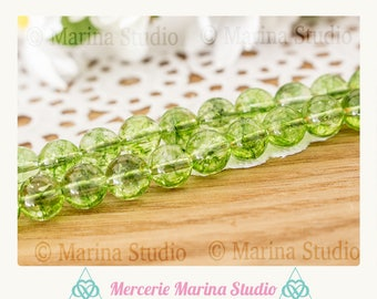 5 natural peridot 8mm round beads