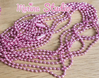 Pretty necklace with pink beads 70cm with clasp