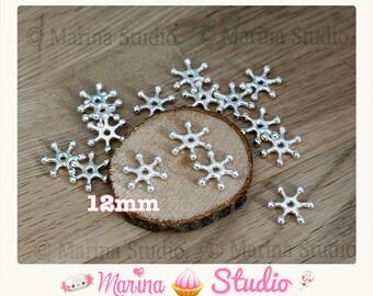 20 beads silver metal snowflake n23689 12x2mm