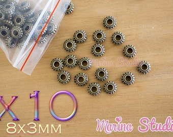 Spacer beads 10 wheel bronze 8x3mm n10337