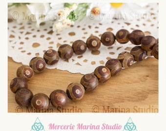 genuine 10mm Tibetan dzi - Pearl 5 beads natural agate
