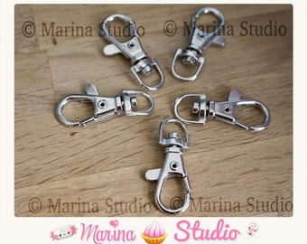 5 large hooks - 31x15mm MS21490 dark silver key ring