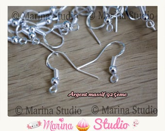 100 beautiful sterling silver hooks with beads 18mm quality 950